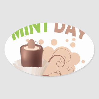 19th February - Chocolate Mint Day Oval Sticker