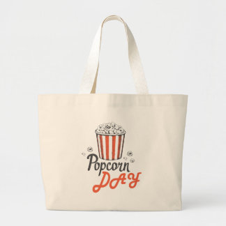19th January - Popcorn Day - Appreciation Day Large Tote Bag