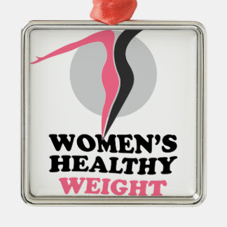19th January - Women's Healthy Weight Day Silver-Colored Square Ornament