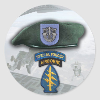 19th Special forces Green Berets veterans flash St Classic Round Sticker