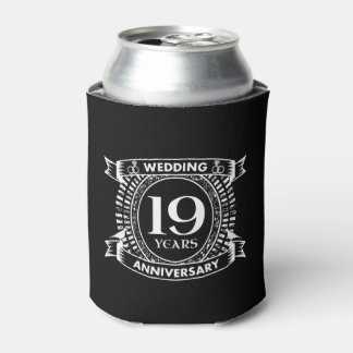 19TH wedding anniversary black and white Can Cooler