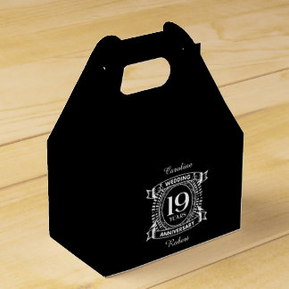19TH wedding anniversary black and white Favor Box
