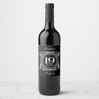 19TH wedding anniversary black and white Wine Label