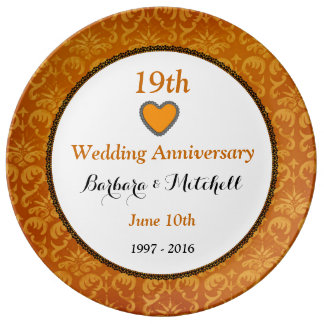 19th Wedding Anniversary Bronze Damask Lace A19A Plate