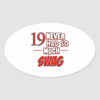 19th year anniversary oval sticker