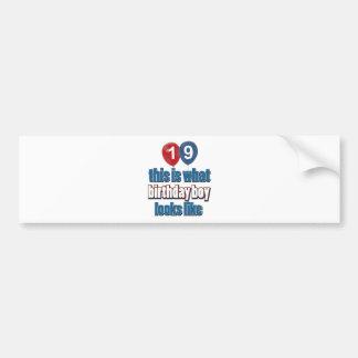 19th year birthday designs bumper sticker