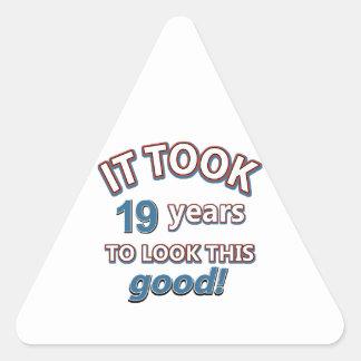 19th year birthday designs triangle sticker