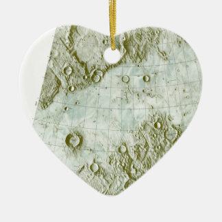 1:000 000 scale lunar chart ceramic heart ornament