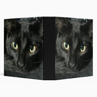 "1 1/2 "" binder with sleepy black cat"