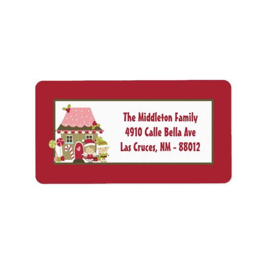 "1.25""x2.75"" Gingerbread House Mailing Address Labe Label"