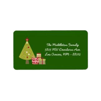"1.25""x2.75"" Green XMAS Tree Mailing Address Label"