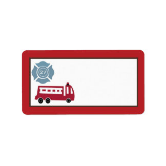 "1.25""x2.75"" Mailing Address Nojo Fire Engine Label"