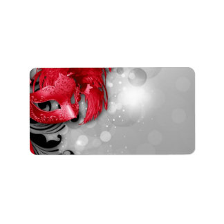 """1.25""""x2.75"""" Mailing Address Red Masquerade Mask Label"""