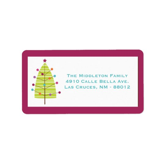 "1.25""x2.75"" Modern Christma Tree Mailing Label"