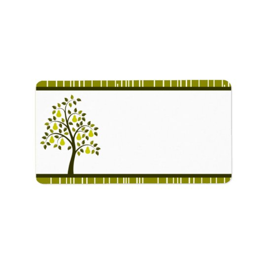 "1.25"" x 2.75"" Mailing Address Green Pear Fruit Str"
