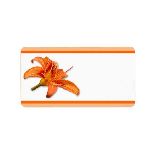 """1.25"""" x 2.75"""" Mailing Address Orange Tiger Lilly w Label"""