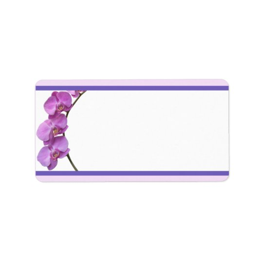 "1.25"" x 2.75"" Mailing Address Purple Orchids on St Label"