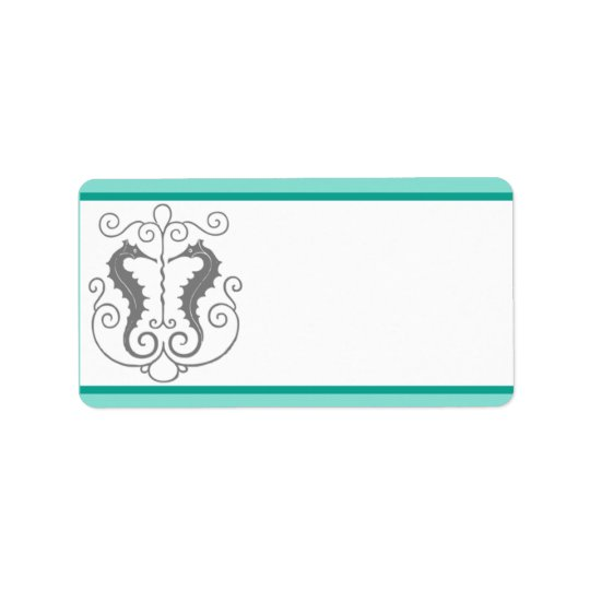 "1.25"" x 2.75"" Mailing Address Seahorse Anchor Turq"