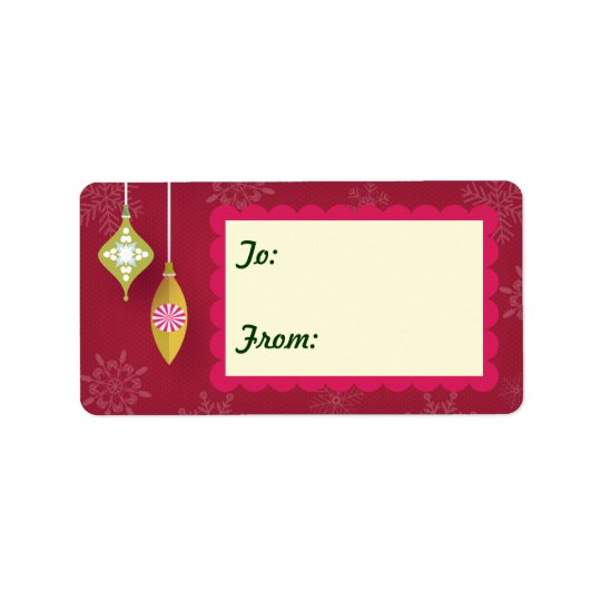 1.25x2.38 Red Christmas Ornaments Gift Tag Labels