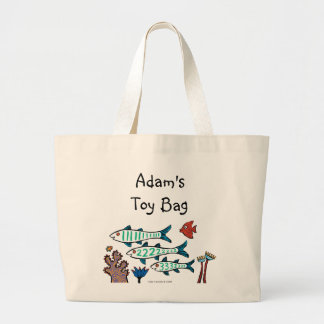 1, 2, 3 Fish with Little Fish and Coral Large Tote Bag