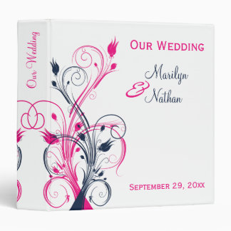 "1.5"" Fuchsia, Navy, White Floral Wedding Binder"