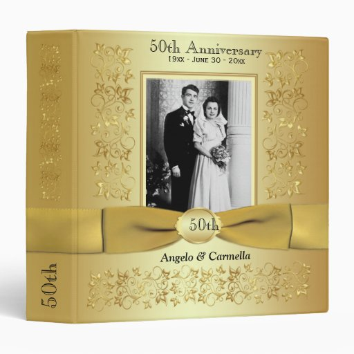 "1.5"" Gold 50th Wedding Anniversary Photo Binder"