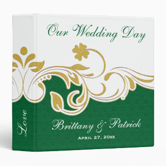 "1.5"" Green, Gold, White Scrolls Wedding BINDER"