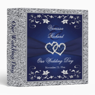"1.5"" Navy Silver Floral Hearts Wedding Binder"