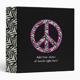 "1.5""  Zebra Print Peace Sign Binder"