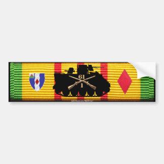 1/61st Inf Track & Insignia on VSM Ribbon Bumper Sticker