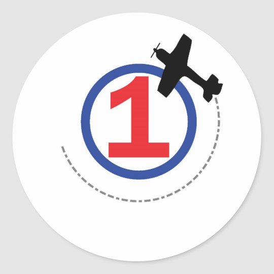 1 airplane circle classic round sticker