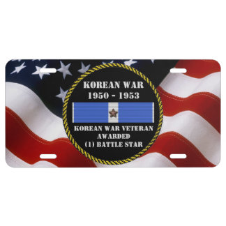 1 BATTLE STAR KOREAN WAR VETERAN LICENSE PLATE