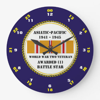 1 BATTLE STAR WWII Asiatic Pacific Veteran Wall Clocks