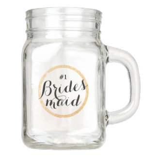 #1 Bridesmaid Cup with Faux Gold Glitter Ring Mason Jar