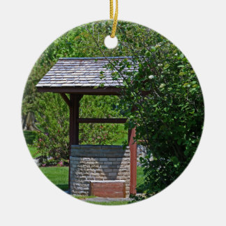 1 By the Wishing Well-vertical.JPG Round Ceramic Ornament