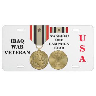 1 CAMPAIGN STAR IRAQ WAR VETERAN LICENSE PLATE