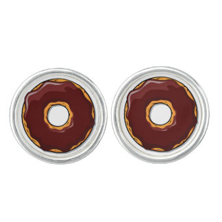 1 Cartoon Chocolate Donut Design Cufflinks