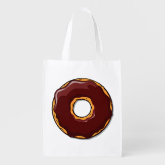 1 Cartoon Chocolate Donut Design Reusable Grocery Bag