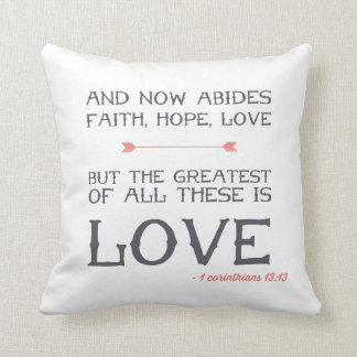 1 Corinthians 13:13 | Bible Verse Art Throw Pillow