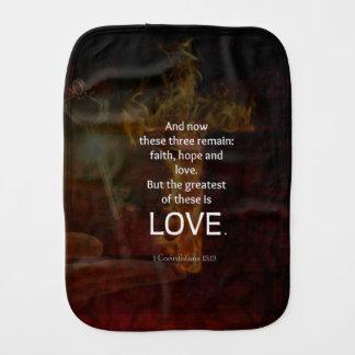 1 Corinthians 13:13 Bible Verses Quote About LOVE Burp Cloth