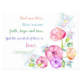 1 corinthians 13:13 Love Bible Verse Postcard