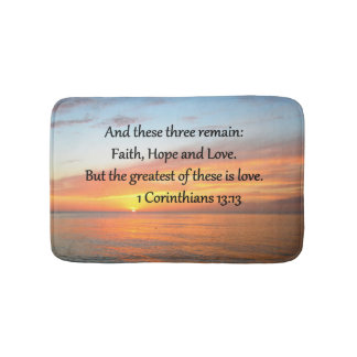1 CORINTHIANS 13:13 SUNRISE PHOTO BATH MAT