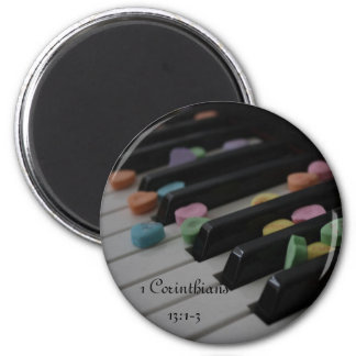 1 Corinthians 13:1-3 Candy Hearts on Keyboard 2 Inch Round Magnet
