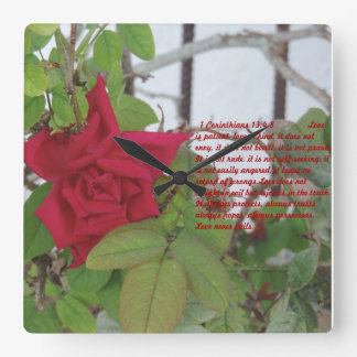 1 corinthians 13:4-8 Love is..... square clock