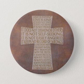 1 Corinthians 13 Love Chapter Cross Rustic Button