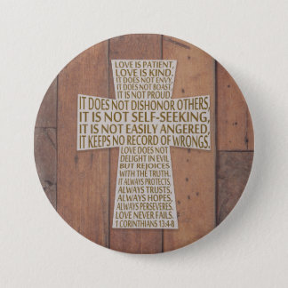 1 Corinthians 13 Love Chapter Cross Rustic Wood 3 Inch Round Button