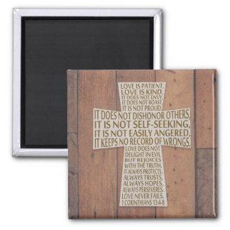 1 Corinthians 13 Love Chapter Cross Rustic Wood Magnet
