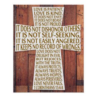 1 Corinthians 13 Love Chapter Cross Rustic Wood Poster