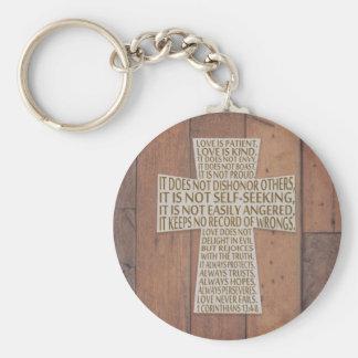 1 Corinthians 13 Love Chapter Rustic Cross Keychain