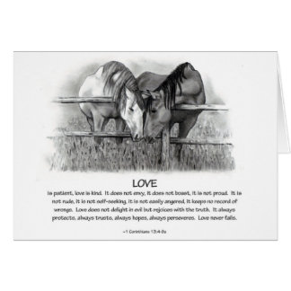 1 Corinthians 13: Love, Horses in Pencil Greeting Card